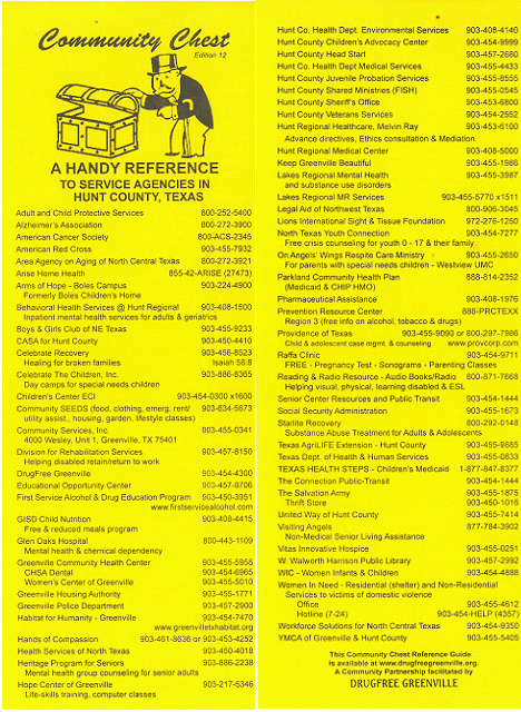 REFERENCE GUIDE TO SERVICE AGENCIES IN HUNT CO. , TEXAS